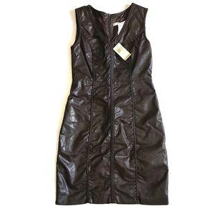 NWT Max Studio chocolate brown leather dress S